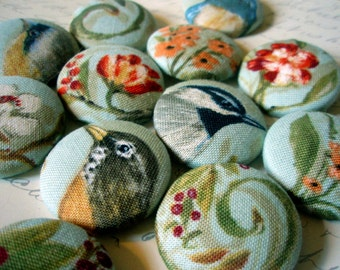 Buttons - Vintage-Style Birds and Flowers Fabric-Covered Buttons - Realistic Birds - Vintage-Inspired Covered Buttons - Spring