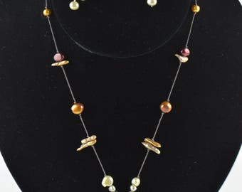 Green and Brown Floating Necklace and Eatring Set