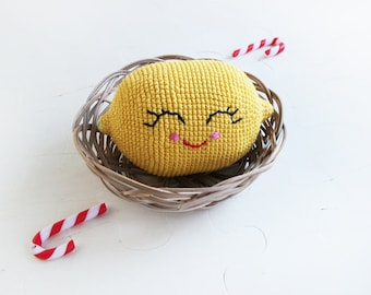 Smiling yellow lemon, Crochet toy, Soft eco-friendly toy,  For baby, kid's room decor, Made with love