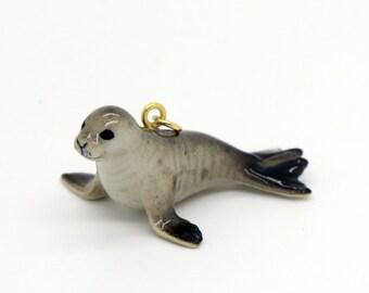 1 - Porcelain Monk Seal Pendant Hand Painted Glaze Ceramic Animal Small Ceramic Sea Lion Bead Jewelry Supplies Little Critterz (CA100)