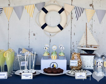 Blue and Gold Nautical Baby Shower - Complete Party Package - WITH INVITATION - 9 Printable PDF Files