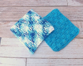 Cotton Dishcloth - 100% cotton dishcloth - textured blue cotton washcloth - blue dishrag - basket weave washrag - housewarming gift