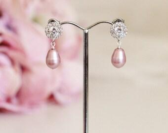 Blush Pink Pearl Earrings Pink Wedding Bridesmaid Earrings Blush Pink Earrings Pink Pearl Bridal Earrings Wedding Bridesmaid Jewelry