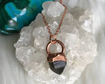CHOOSE NECKLACE- Smoky Quartz Mini Pendant- Copper Electroformed, crystal necklace