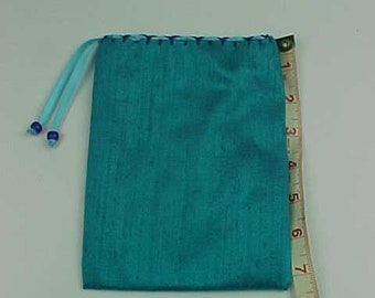 """Silk Tarot Bag, Gift Bag,  Turquoise , 7""""X5"""", Cotton Lining, Sturdy Drawstring Pouch, Ready To Ship, Treasure Bag, Medicine Pouch."""