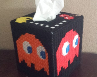 Handmade Finished Pac Man and Ghosts Tissue Box Cover