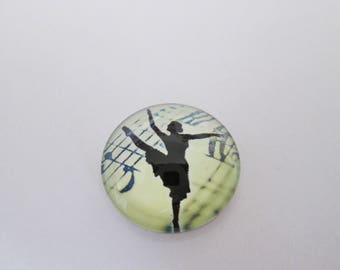 1 round cabochon 20 mm dancer print
