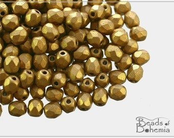 100 pcs Silky Metallic Sand Czech Fire Polish Round Beads 4 mm (8361)