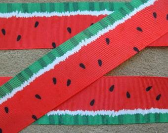 "3 yards Red Watermelon Ribbon 1 1/2"" grosgrain ribbon Hair Bow Supplies Summer fruit hair bow printed ribbon"