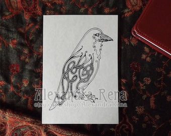Celtic Knotwork Raven Art Print - 5x7