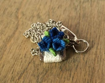 Bluebell Macrame Flower Charm Necklace