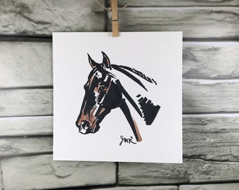 "Horse art original ""Head Study in Brown and Black"" sketch"