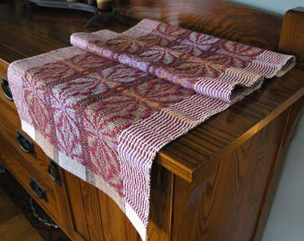 Handwoven Table Runner Home Decor Table Scarf Textile Housewarming Gift with Hemmed Edge 34 Inches Long  - Tranquil Garden