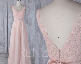Bridesmaid Dress Peach Chiffon Dress,Wedding Dress,Lace Illusion V Back Party Dress with Sash,Sleeveless Maxi Dress,A Line Prom Dress(L295)