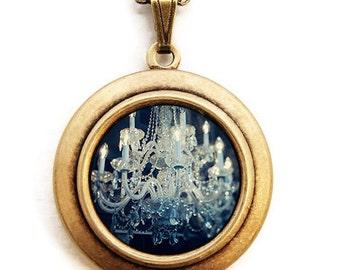 Sapphire - Romantic Indigo Glamorous Chandelier Photo Locket - Wearable Photo Locket Necklace