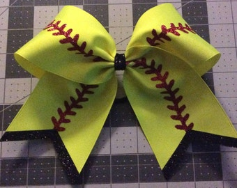 "3"" Texas Size Cheer bow - softball bow - trimmed ends"