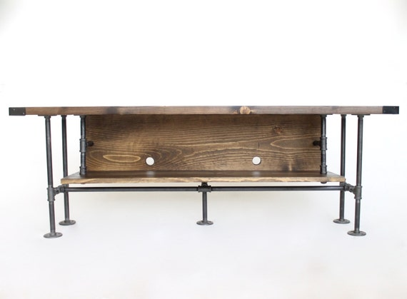 Industrial Style Long TV Console Table With Backing Board