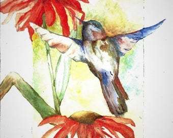 Hummingbird - Watercolor - Note Card 5 x 7 All Occasion - Individually Customized Matting - Quantity Discount
