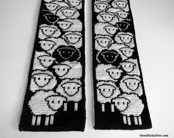 Knitting Pattern - Counting Sheep Scarf