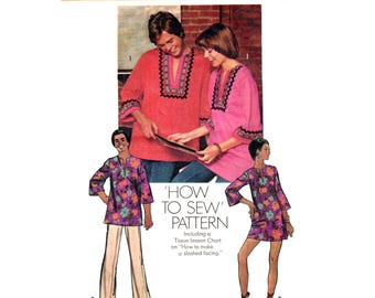 Dashiki Shirt or Dress Pattern Simplicity 5828 Tunic Hippie Top or Mini Dress Womens Size 16 or Mens Size Medium