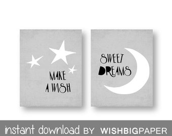 Make a Wish Sweet Dreams Gray Green Nursery Wall Art Print-Instant Download-Set of two (2)Gray Nursery Prints.Star Nursery Art. Gray. Moon