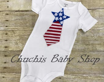 4th of july Baby Tie onesie fourth of july tie bodysuits holiday independence day flag stars patriotic fireworks heart first year tie