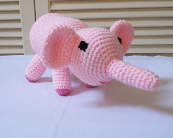 Crochet Pink Elephant Stuffed Animal / Crochet Doll / Amigurumi Toy/ Handmade Toys/ Gift For Kids/ Plushie Elephants