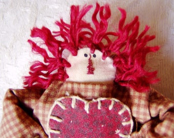 Mini Annie Ornament or Peg Hanger - with Rust Gingham Dress - with Calico Heart