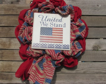 "22"" Patriotic Wreath- Fourth Of July Wreath- 4th Of July Wreath- July 4th Wreath- Burlap 4th Of July Wreath- Flag Wreath- Burlap Wreath"