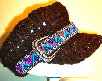 HALF PRICE SALE, Newsboy Cap, High Fashion Southwest flair, Buckle,  Hand Crocheted, RedRobinArt, Grigsby Gallery and Gifts