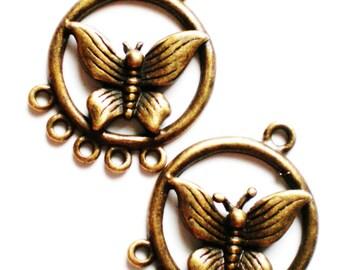 Butterfly chandelier  earring pendants 8 findings 20x26mm (F7)