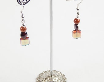 Goldstone stack earrings