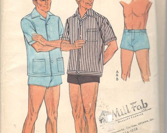 Style 2056 1960s Mens Sports Shirts and Shorts Swim Trunks Pattern Adult  Vintage Sewing Pattern Waist 34 Neck 15 UNCUT