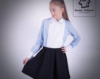 Pleated skirt PDF Pattern.Pleated skirt for girls age 6 to 13.PDF sewing pattern.pdf pattern.PDF pattern for children.Skirt parrern for girl
