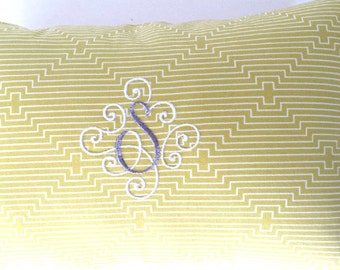 "Custom Monogram Pillow, Two Color Elegant Scroll 12"" x 18"" Lumbar Pillow Cushion/Wedding/Nursery/Bridal/Wedding Decor/INSERT INCLUDED"