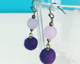 Newport Felt Earrings in Grape, Purple Dangle Earrings, 7th Anniversary, Wool Anniversary, Statement Earrings, Felt Balls, Mother's Day Gift