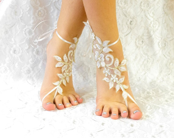 Ivory Beach Wedding Lace Barefoot Sandles, wedding shoes lace for bride, beach wedding barefoot shoes, beach anklets