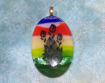 Tulip Pendant, Large Statement Pendant, Flower Necklace, Fused Glass Art, Rainbow Omega Slide Jewelry, Ready to Ship - Tulip Bouquet -5