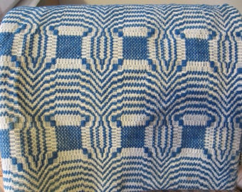 Antique Coverlet In Blue And Cream/Over 100 Year Old Coverlet/2 Panel Woven