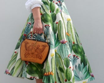 Blooming Cactus 50s style circle skirt , Vintage 50s inspired custom made cactus print skirt