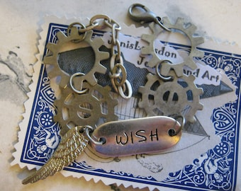 Steampunk WISH ID Gears Bracelet With Wing