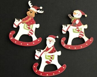 Three Holiday Magnets. Christmas Fridge Magnets. Christmas Magnets. Refrigerator Magnets. Rocking Horse Magnets. Handmade Home Decor.