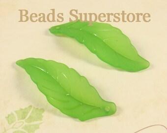 FINAL SALE 40 mm x 20 mm Green Lucite Leaf Bead / Pendant - 10 pcs