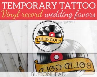Retro Wedding Favors - Vinyl Record Wedding Favors - Party Favors - Temporary Tattoos - Set of 12