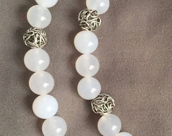 White Agate and Silver Bracelet