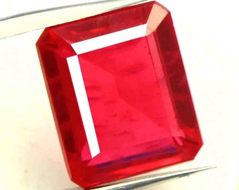 23.60Ct Certified Natural Sparkling Emerald Cut Mozambique Heated Red Ruby Gemstone ET226