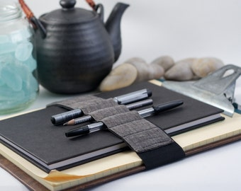 Pencil case alternative // dark linen // (a better pencil case, journal pen holder, book strap, pen loop, pencil roll, pen bandolier)