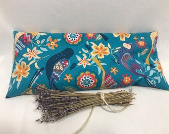 Folk Art Birds 14x6 Heat and Cold Lavender Aromatherapy Pillow