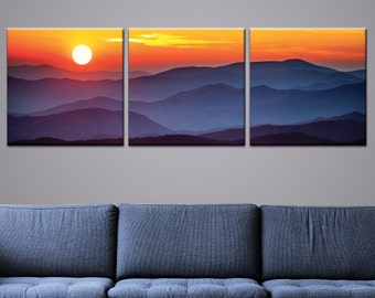 "Blue Hills Mountain Sunset Triptych 3-Panel Printed Canvas 1.5"" Thick 