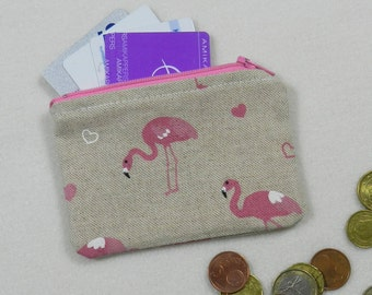 Tiny zipper pouch - Mini pouch - Pink flamingos - Travel pouch - Accessories case - Coin purse - Credit card case - Flamingo pouch